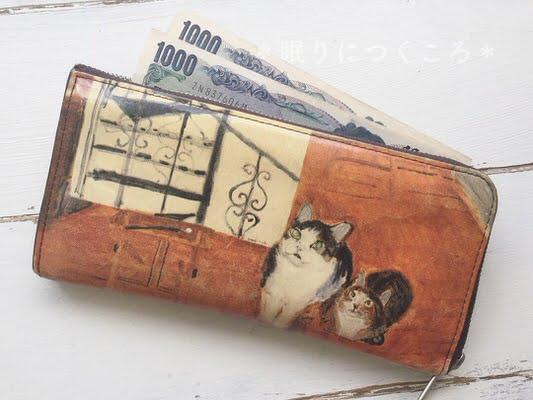 マンハッタナーズの長財布、猫の絵を描く仕事