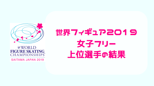 世界フィギュアスケート選手権2019・女子フリー(FS)結果