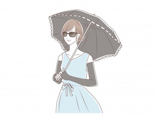 紫外線を防ぐ女性