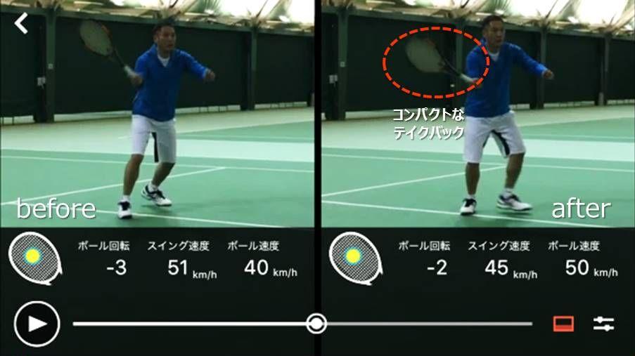 スマートテニスセンサーアプリの二画面比較機能でテイクバックを確認