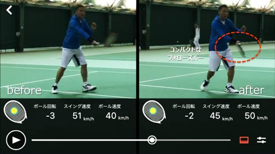 スマートテニスセンサーアプリの二画面比較機能でフォロースルーを確認