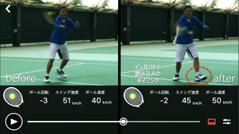 スマートテニスセンサーアプリの二画面比較機能でインパクト時のラケット位置を確認