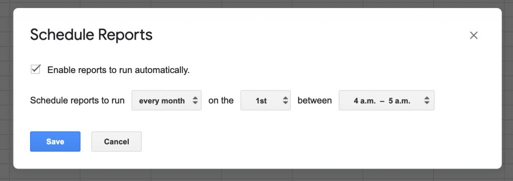 アドオン > Google Analytics > Schedule Reportsで、以下の設定にする。