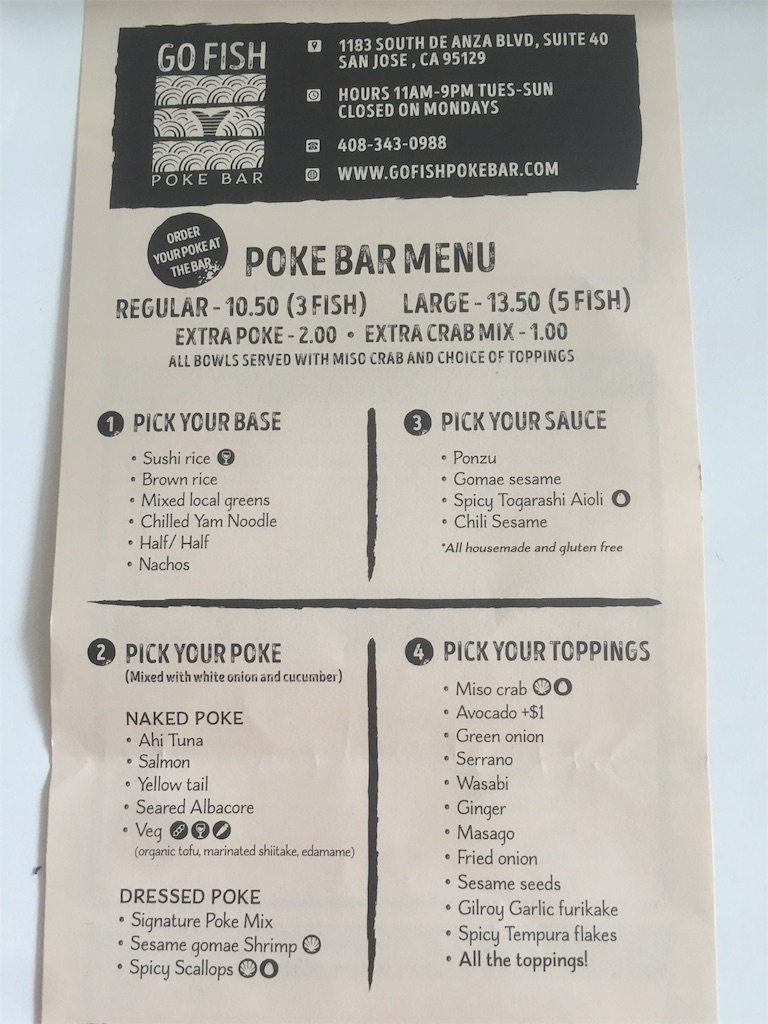 Go Fish Poke Bar menu