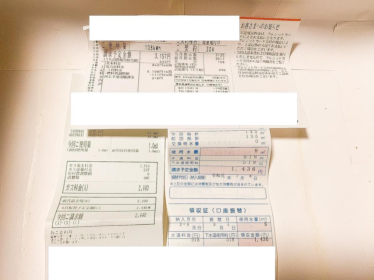 うつ病生活保護受給者の公共料金【2019年6月分】
