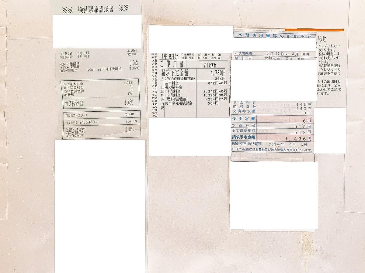 うつ病生活保護受給者の公共料金【2019年8月分】