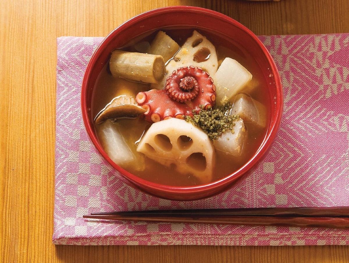 顔の筋肉を鍛えるたこと根菜のスープ