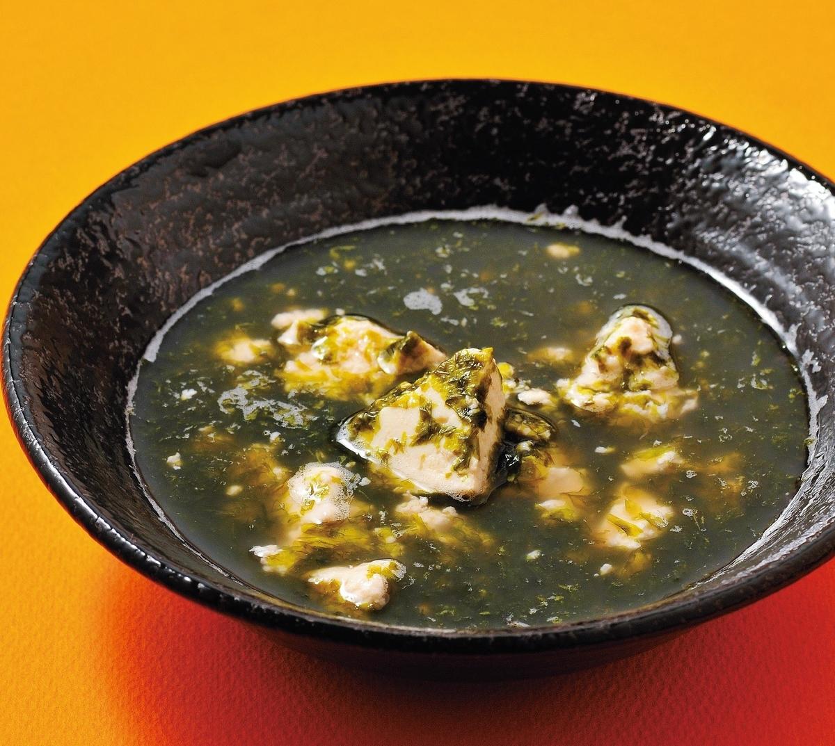のりとくずし豆腐のスープ