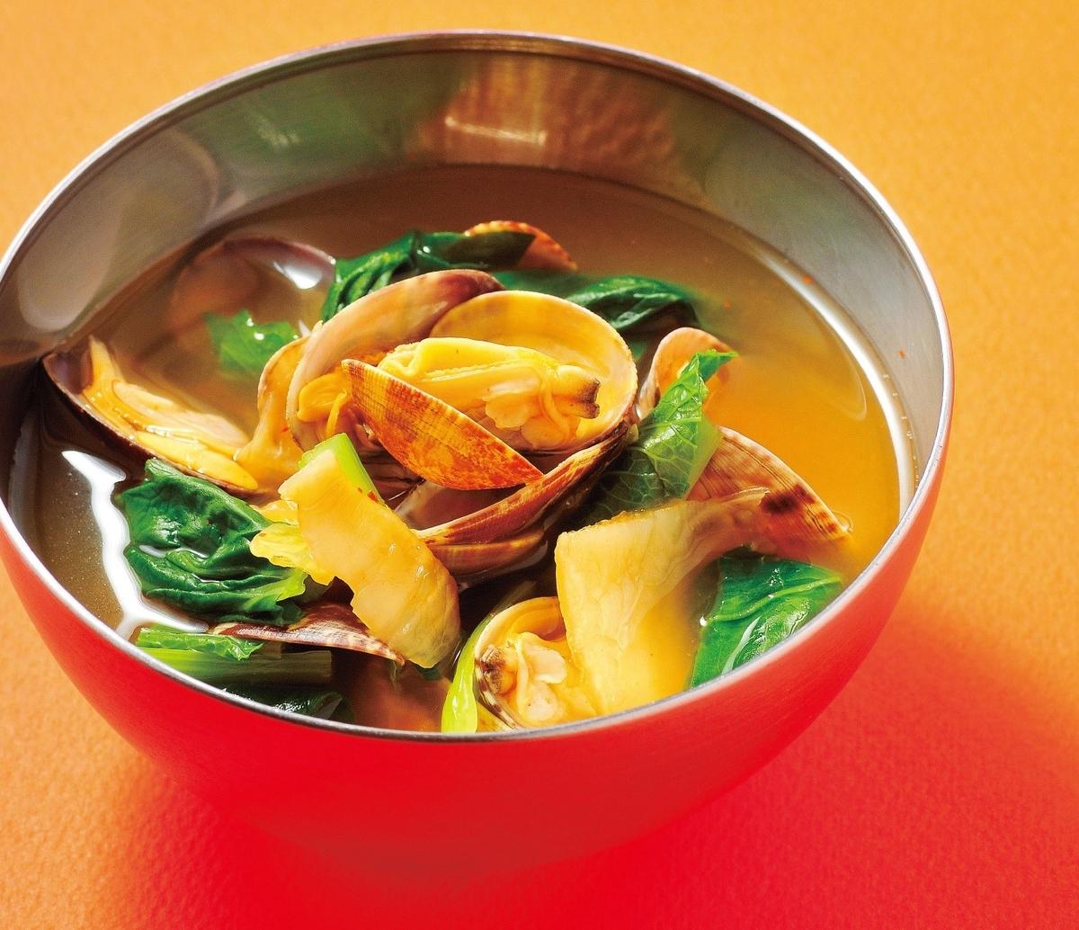 あさりとキムチのスープ