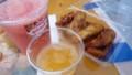 揚げバナナとサツマイモ、スイカスムージー、生オレンジジュース
