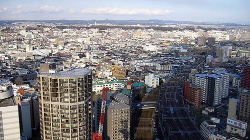 AERから仙台市北東部を望む