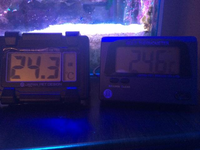 デジタル水温計でクーラーから吐き出されたばかりの水と離れた場所の水の温度差を比較した。