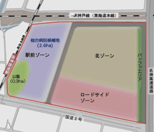 アサヒビール西宮工場跡地再開発の計画図
