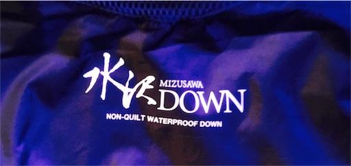 水沢ダウンの裏地のロゴ