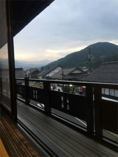 夕べに岩井屋の客室の窓から見える瓦屋根と山々