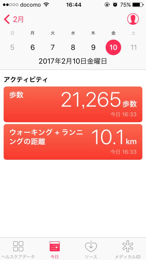 アイフォンの万歩計による結果