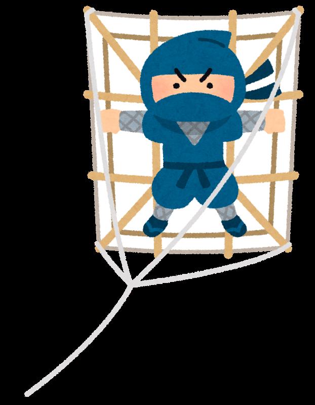 猫忍の主人公は、凧に乗って移動