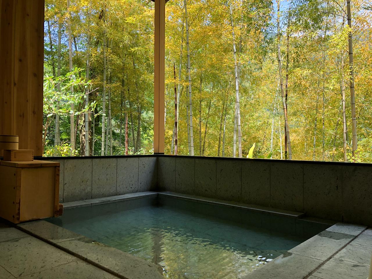 リニューアルされた箱根函嶺の源泉かけ流し半露天風呂