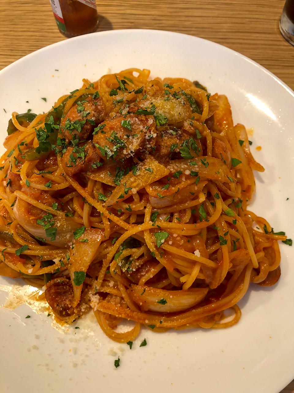 新玉ねぎのナポリタンスパゲッティ