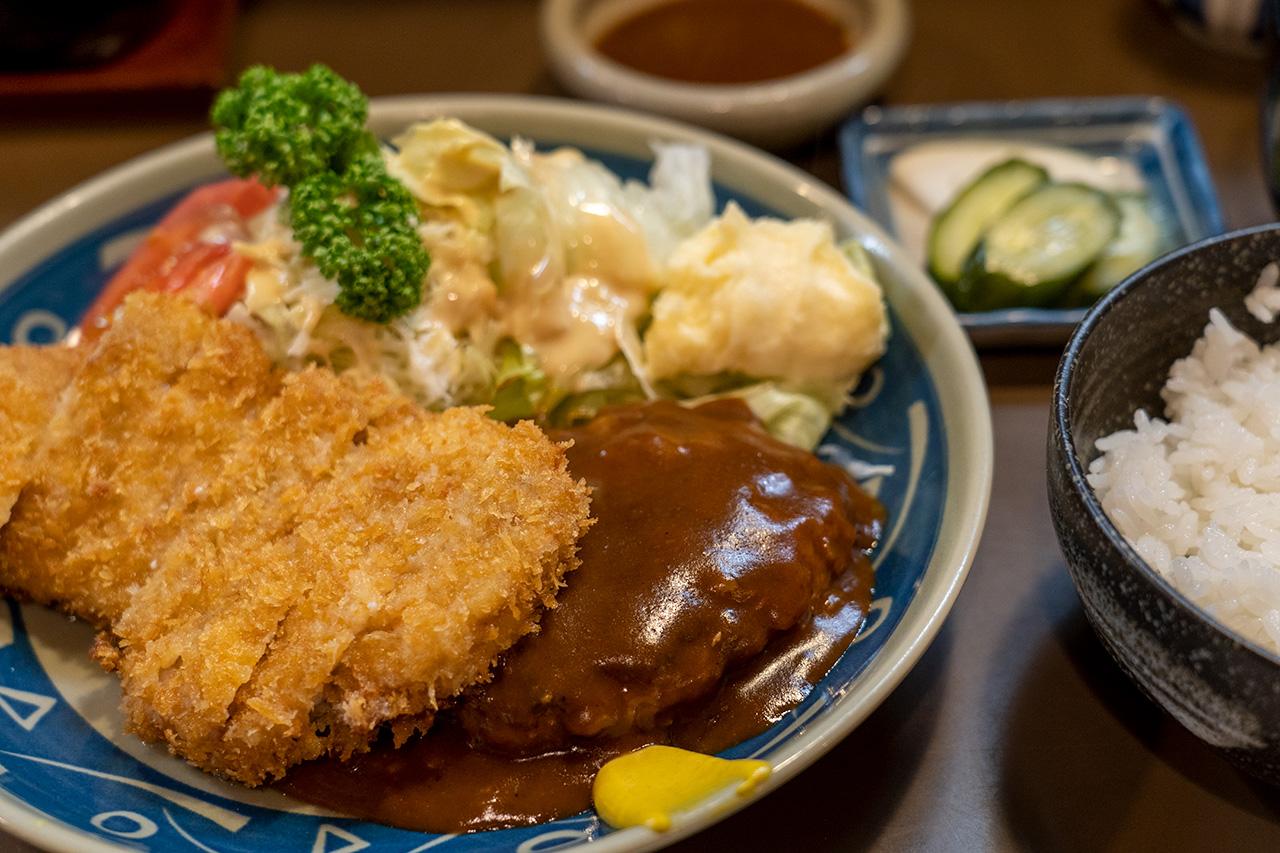 京都 とんかつステーキ岡田のとんかつとハンバーグのセット