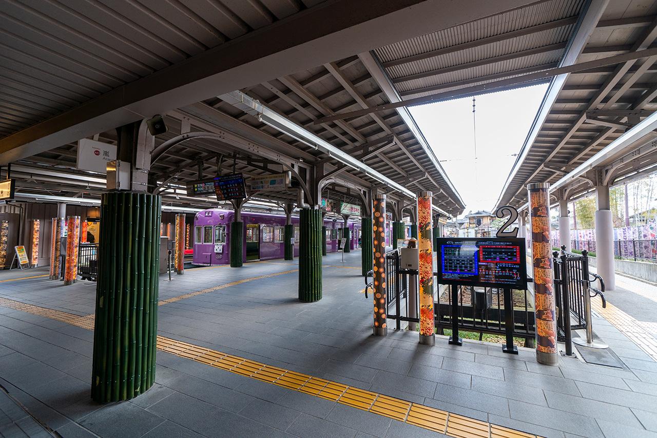2020年3月24日(火)、観光客のいない嵐電嵐山駅