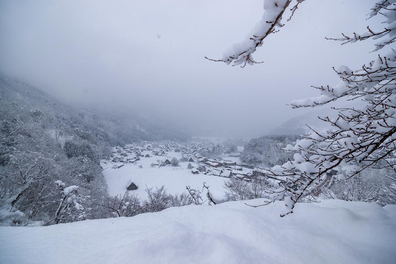 城山天守閣から見た白川郷の眺め