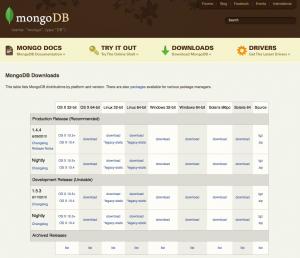 MongoDBDownload画面