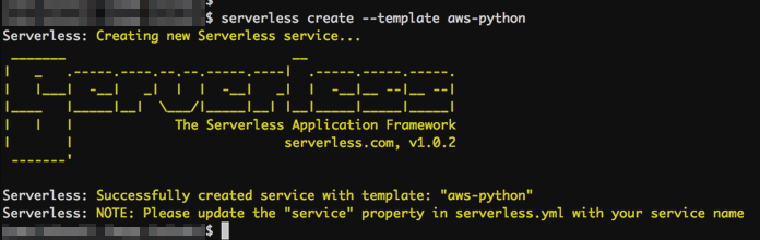 serverless create