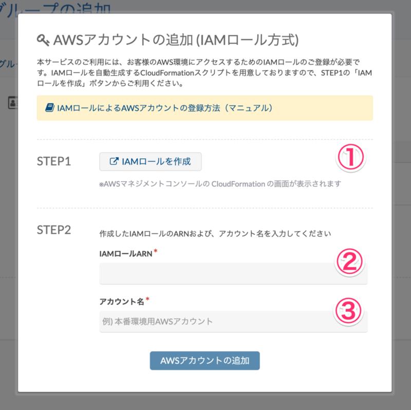 AWSアカウント追加ダイアログのスクリーンショット