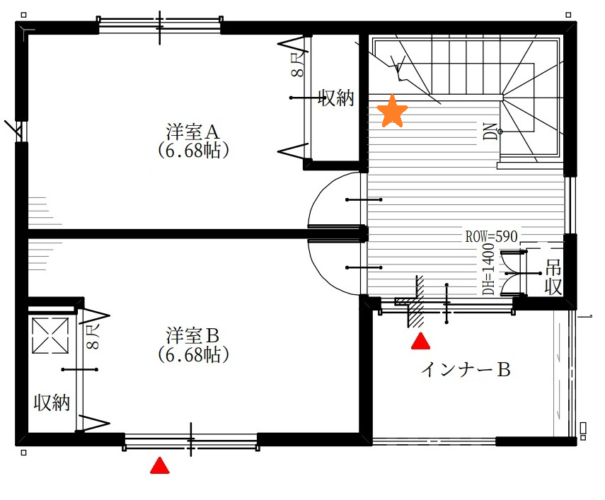ホール☆印:コンセント増設