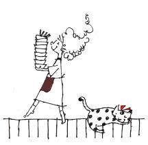 猫と皿と女の子