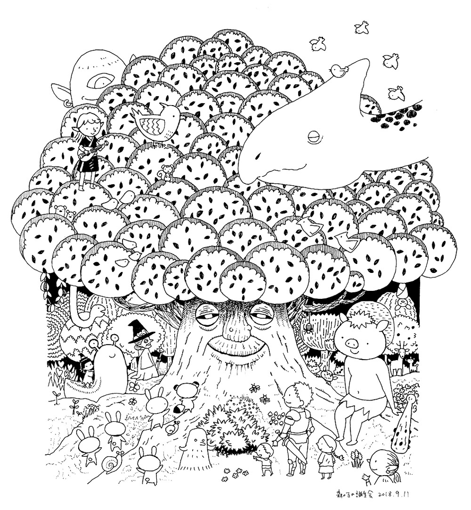 森の王の誕生会モノクロイラストペン画 画材店のオヤジに
