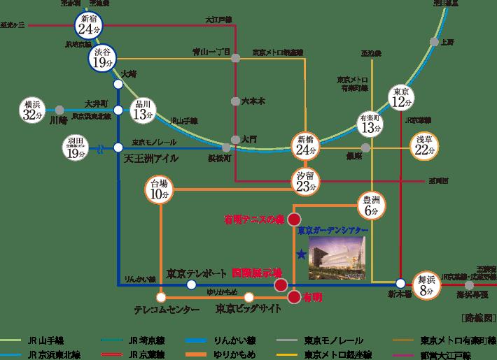 東京ガーデンシアター最寄り駅までの路線図