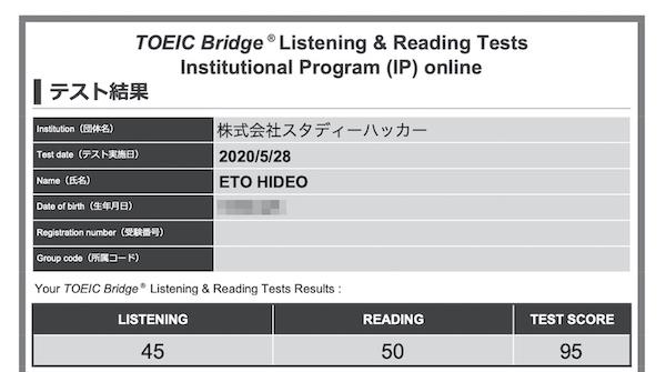 初級コース卒業時のテスト結果