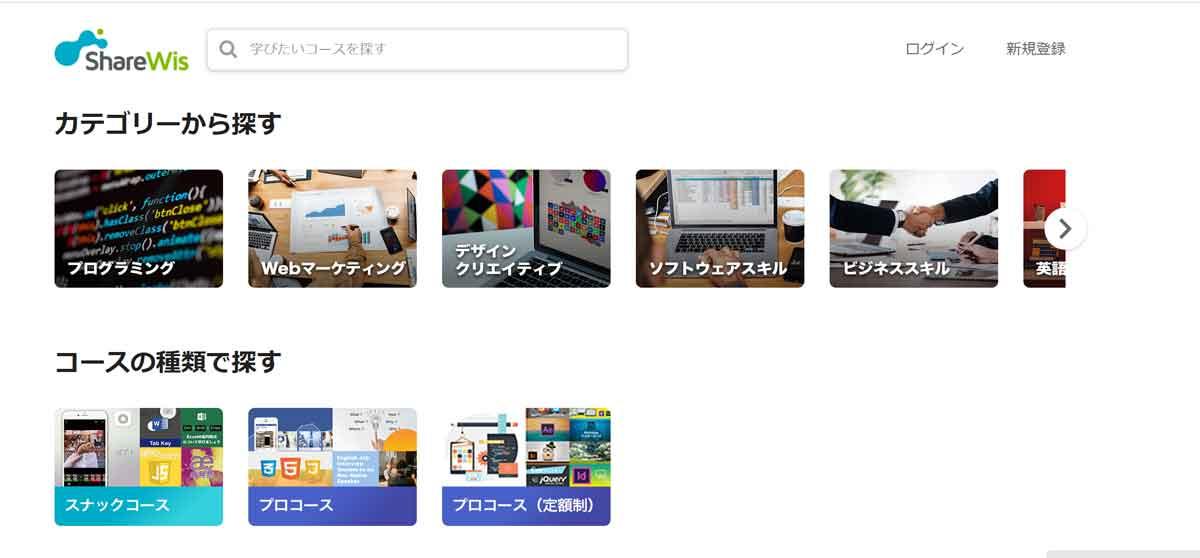 動画で勉強できるサービス「ShareWis」のトップページのスクリーンショット