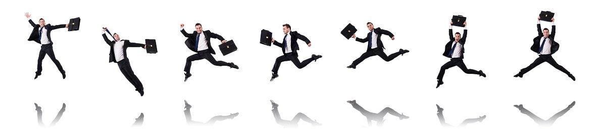 根性のあるビジネスパーソンが元気にジャンプ