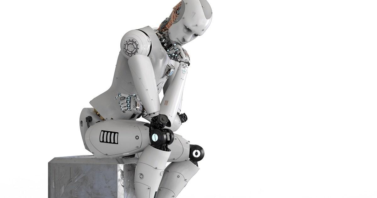 根性の意味がわからず考え込むAI(人工知能)搭載ロボット