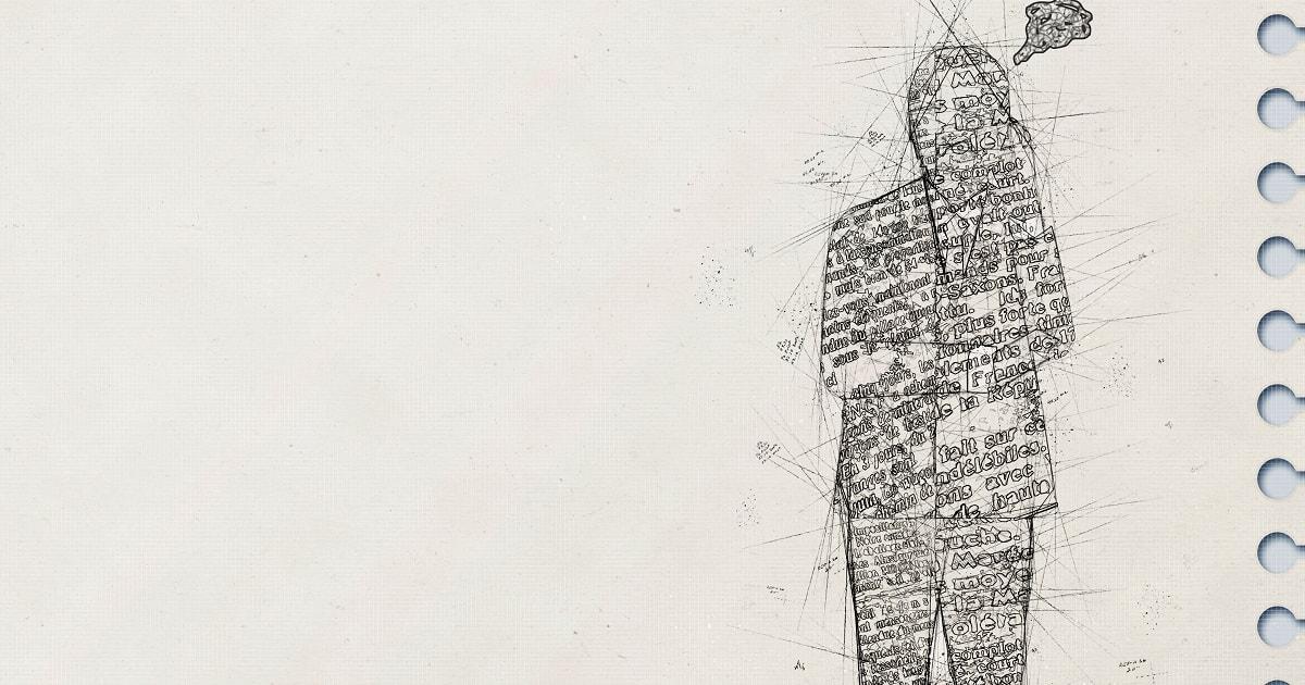 スケッチブックに鉛筆で描かれた、イライラしているビジネスパーソン