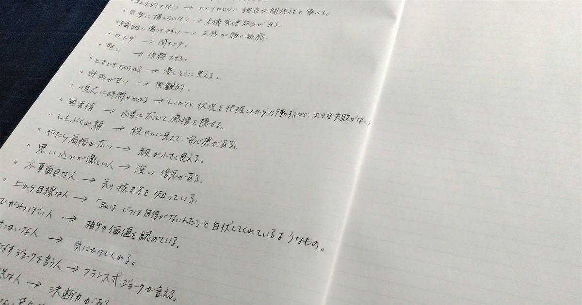 リフレームノートに書いた欠点や好きではない部分を、違う視点で見直し、書き出してみた。
