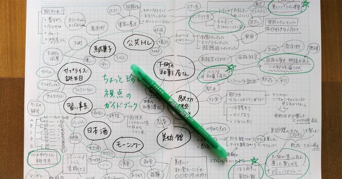 方眼ノートを使って広げたアイデアから、いいなと思うものをピックアップ