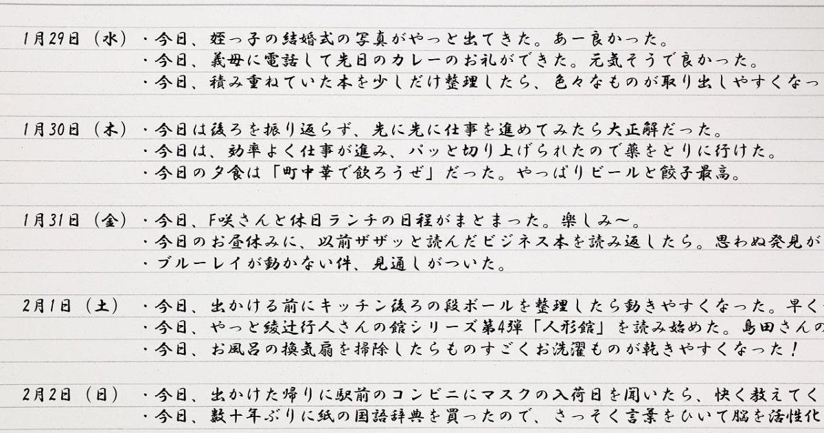 株式会社朝6時 代表取締役の池田千恵氏が提案する「朝の3行日記」を一通り書いてみた。