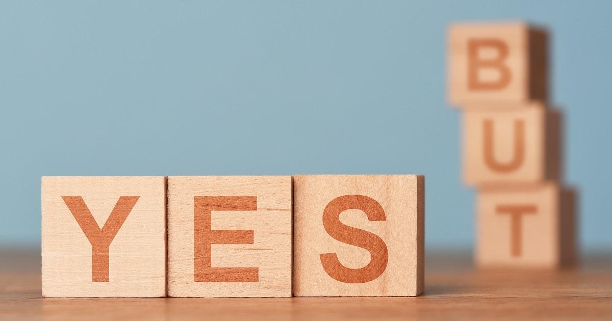 積み木で「YES・BUT法」をイメージした画像
