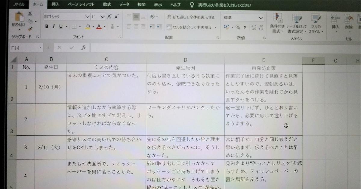 「ミス管理表」に数日間書き込んだデスクトップ画像
