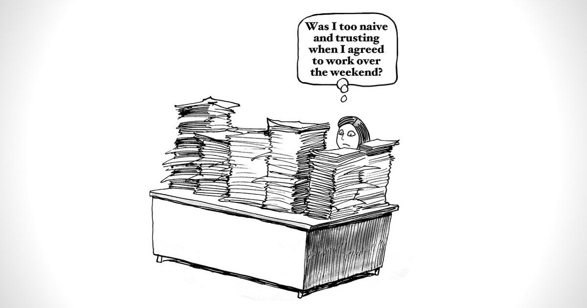 たくさんの書類がのった机を前に、呆然とするビジネスパーソンのイラスト