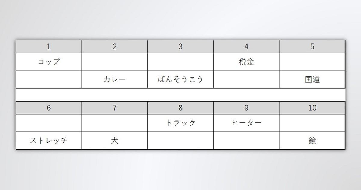 空欄ができた「イメージ変換トレーニング」のための表