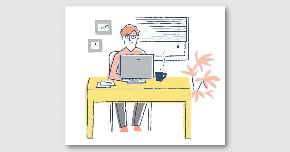 自宅でリモートワークをする男性が客観的に失敗ノートをつけている様子