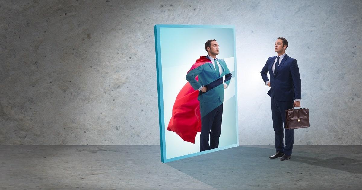 スーパーマンになった自分を想像し、自分ならやれる! と感じているビジネスパーソン