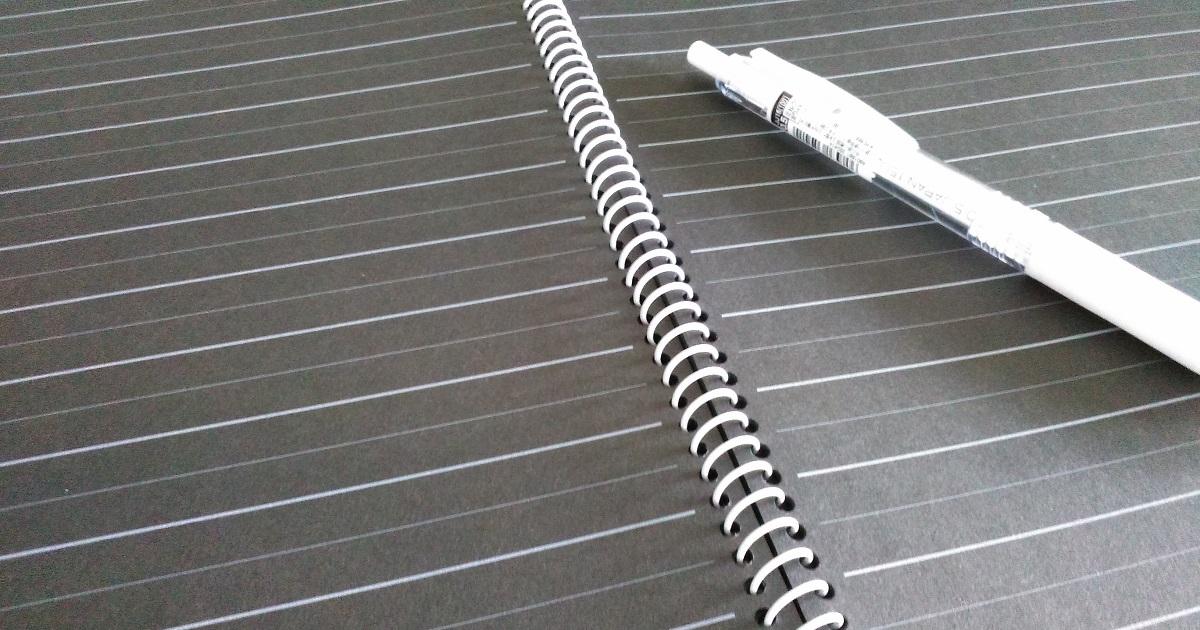 開いてる状態の黒いノート