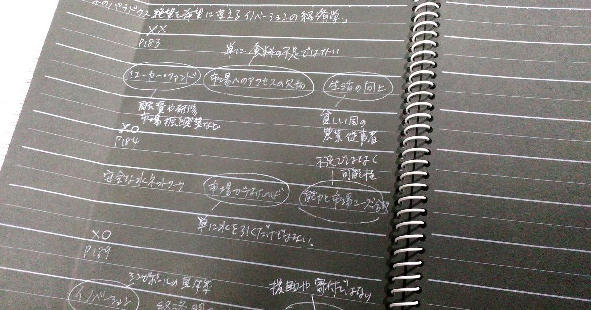 黒いノートに「3ワードノート」を書き、何度か復習した状態