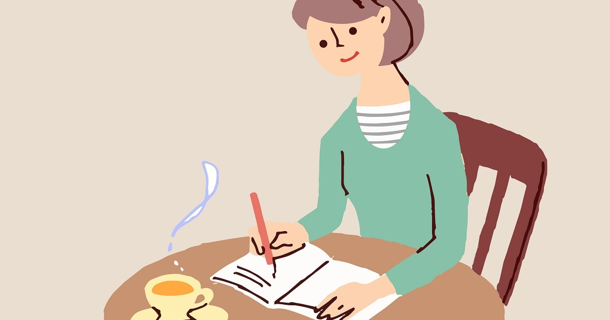 女性が家でくつろぎながら日記を書いているイラスト